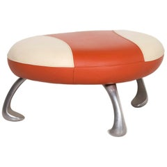 Leolux Leather Stool Orange