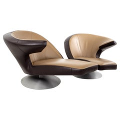 Leolux Leather Swivel Chaise Lounge Chairs, Pair