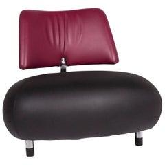 Leolux Pallone Leather Armchair Black Purple