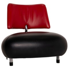 Leolux Pallone Leather Armchair Black Red