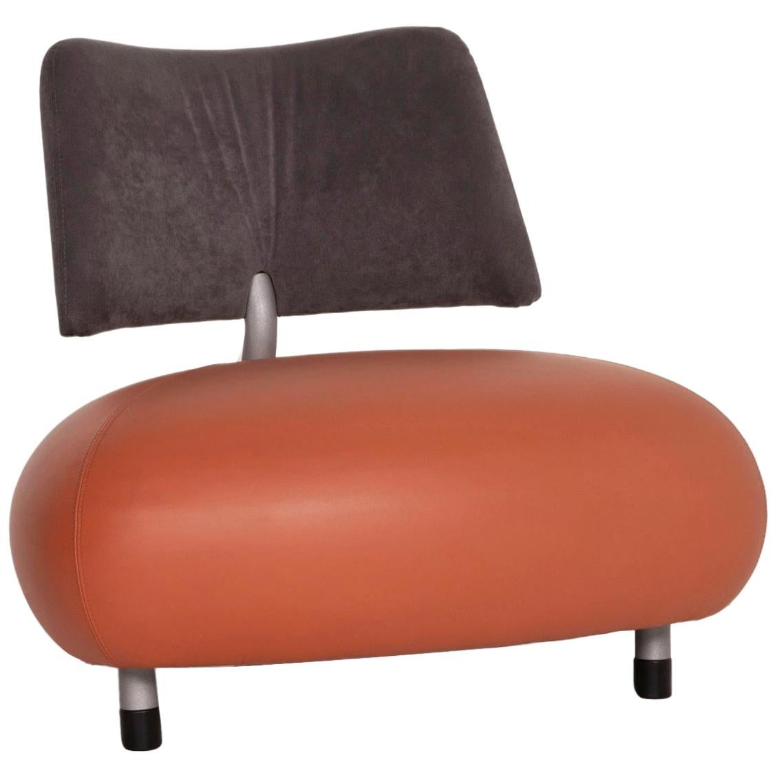 Leolux Pallone Leather Armchair Orange Fabric