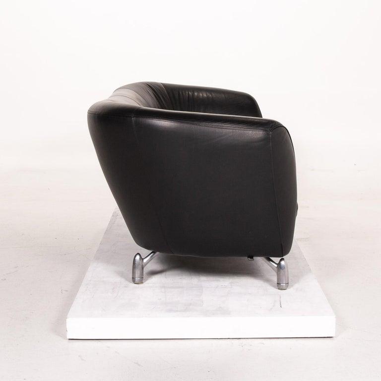Leolux Pupilla Leather Sofa Black Three-Seat Couch 4