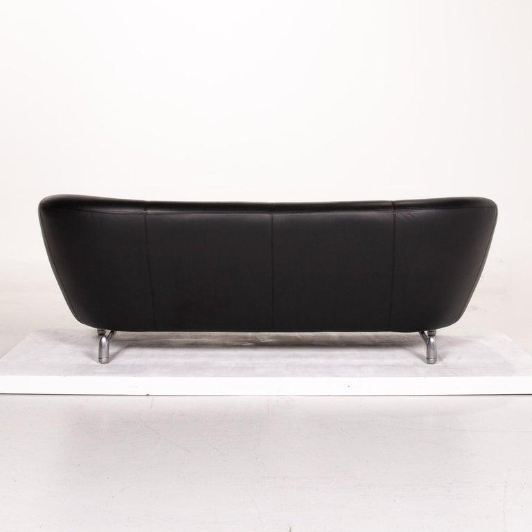 Leolux Pupilla Leather Sofa Black Three-Seat Couch 5