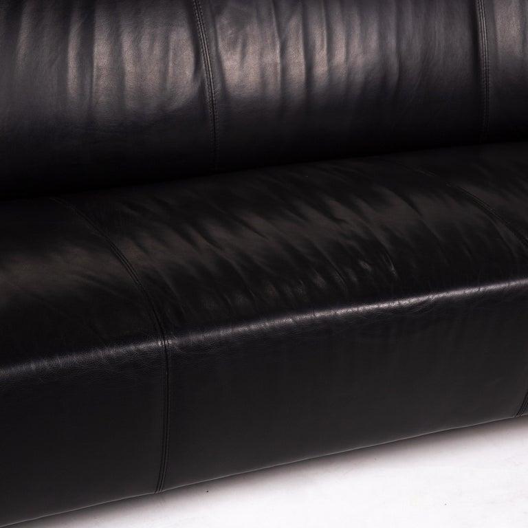 Dutch Leolux Pupilla Leather Sofa Black Three-Seat Couch