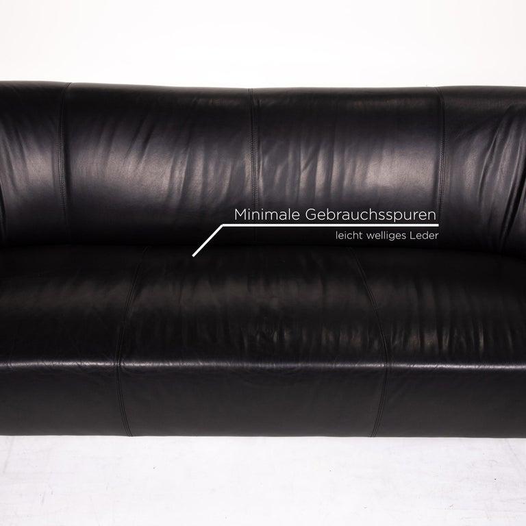 Leolux Pupilla Leather Sofa Black Three-Seat Couch In Good Condition In Cologne, DE