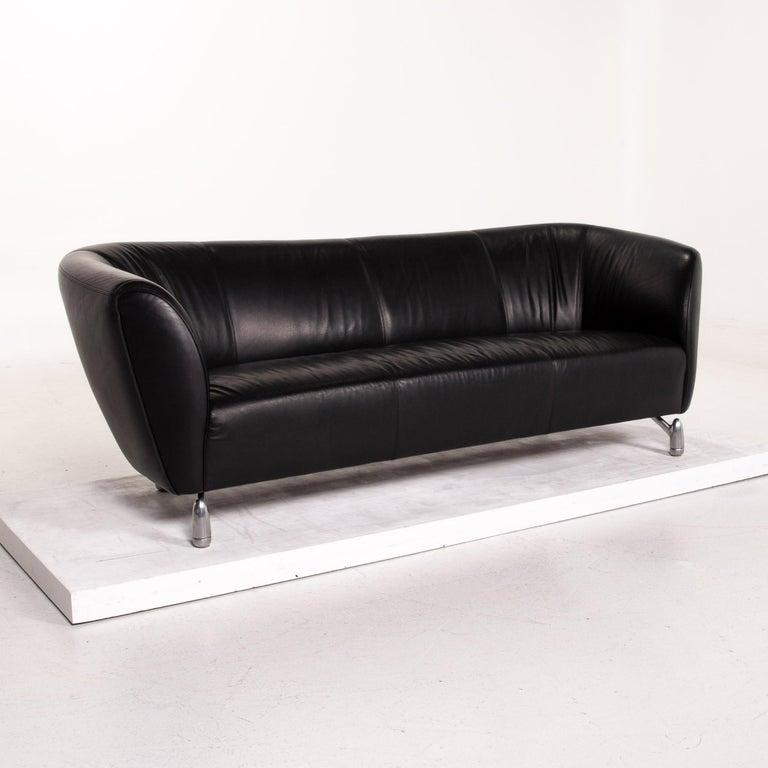 Leolux Pupilla Leather Sofa Black Three-Seat Couch 2