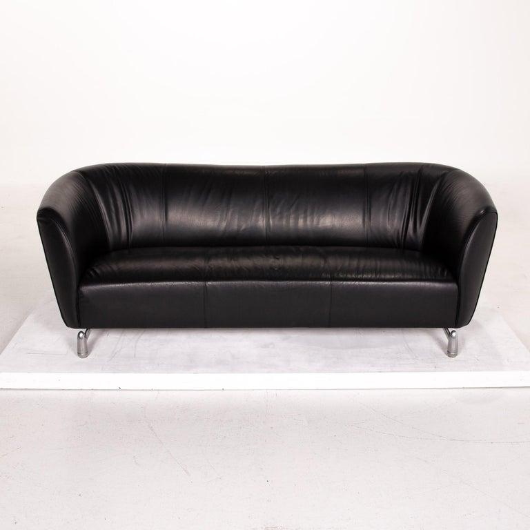 Leolux Pupilla Leather Sofa Black Three-Seat Couch 3