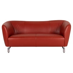 Leolux Pupilla Leather Sofa Red Red Brown Two-Seater Couch