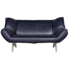 Leolux Tango Designer Leather Sofa Blue Two-Seat Couch Function