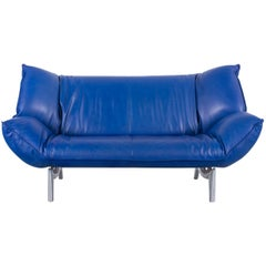 Leolux Tango Designer Sofa Leather Blue Two-Seat Couch Modern