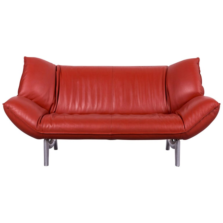 Leolux Tango Designer Sofa Leather Red Two-Seat Couch Modern ...