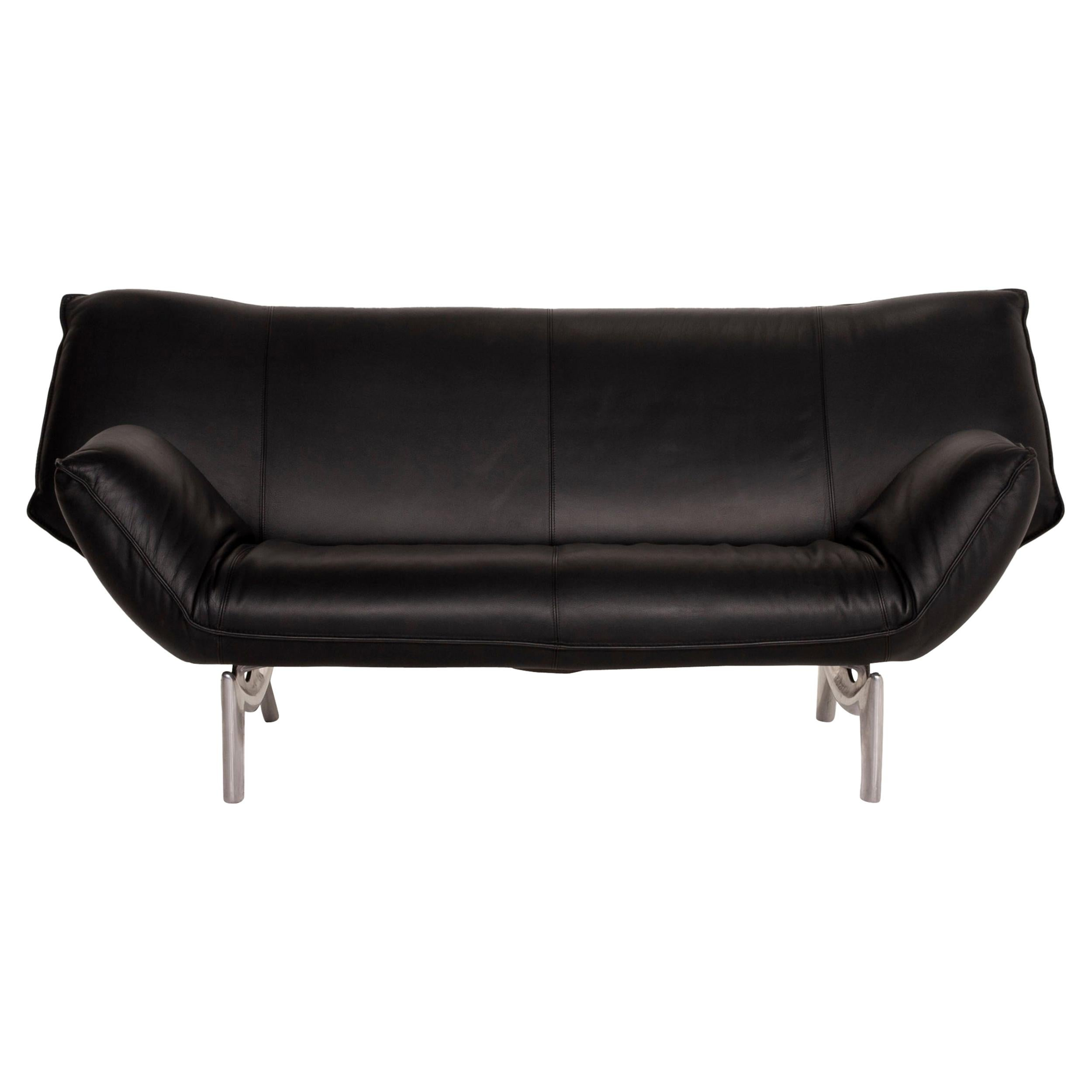 Leolux Tango Leather Sofa Black Two-Seater
