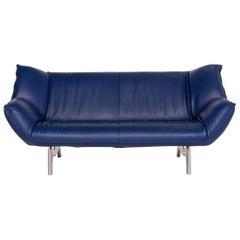 Leolux Tango Leather Sofa Blue Dark Blue Three-Seat Function Couch
