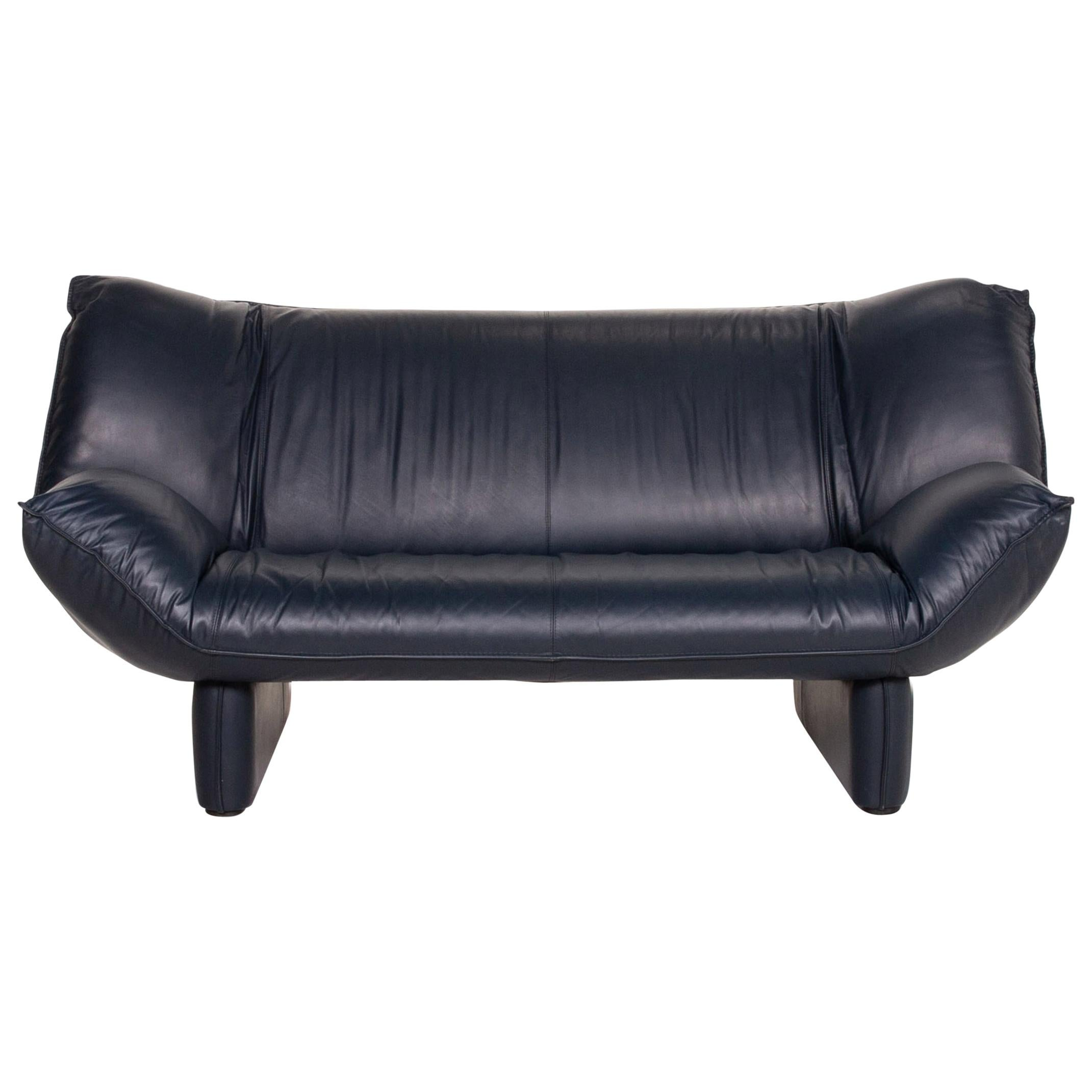 Leolux Tango Leather Sofa Blue Dark Blue Two-Seat Function Couch