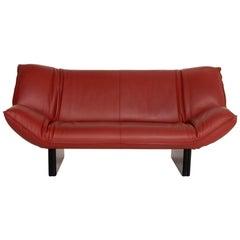 Leolux Tango Leather Sofa Dark Red Three-Seat
