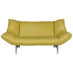 Leolux Tango Leather Sofa Green Lime Green Three-Seat Function Couch