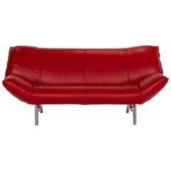 Leolux Tango Leather Sofa Red Two-Seat Function Couch