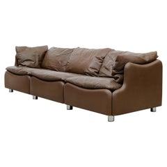 Leolux Wave Frame Sofa in Brown Leather