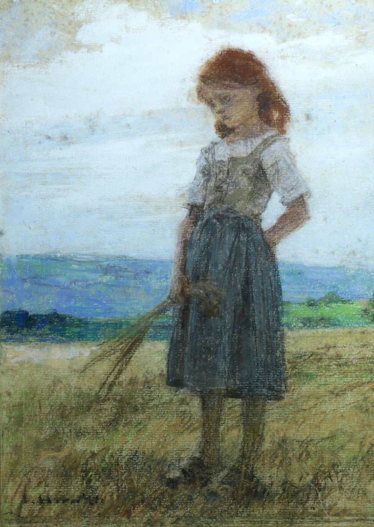 "Léon Augustin Lhermitte Figurative Painting - ""Jeune Fille"" Lhermitte c.19th French Barbizon Young Girl Figure in Landscape"
