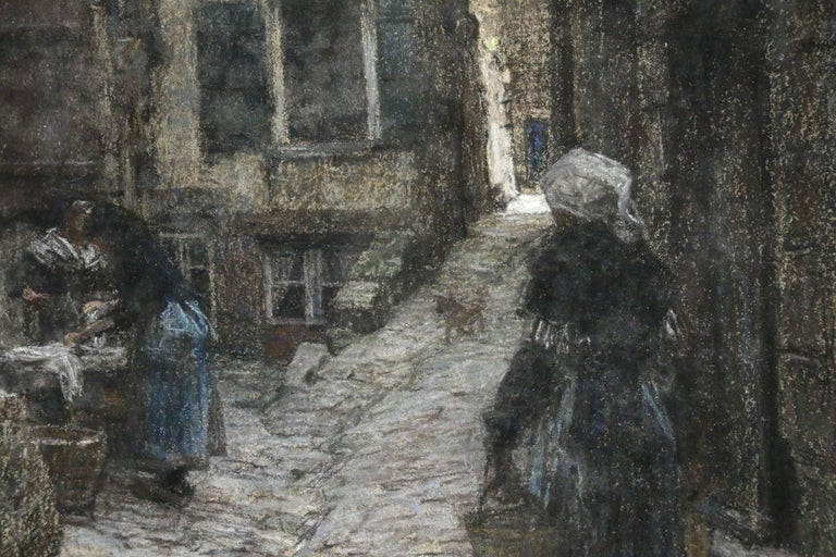 This work depicts figures on the street at Saint Malo. It's a large example and in excellent condition. The work is pastel on canvas and is housed in its original frame. Signed lower left.  Léon Augustin Lhermitte was the son of a school teacher. He