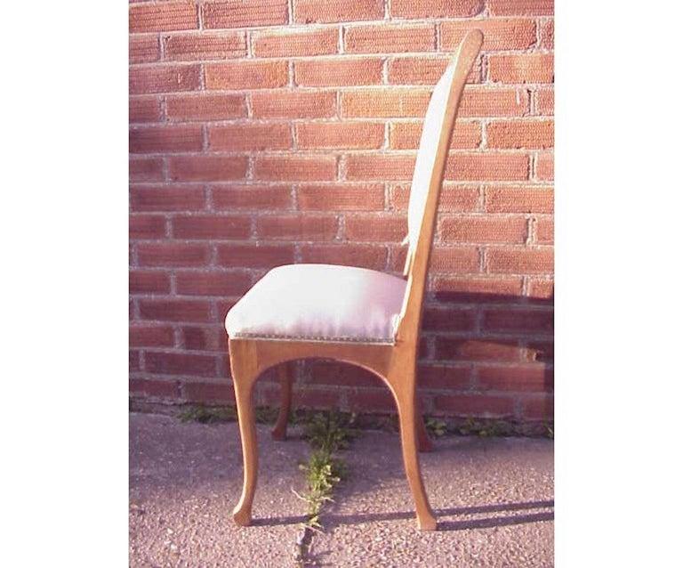 Hand-Crafted Leon Benouville, an Art Nouveau Oak Desk or Side Chair with Subtle Organic Lines For Sale