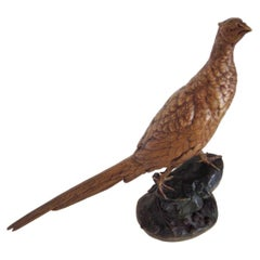 Leon Bureau French Sculpture of a Cock Pheasant, Circa 1900