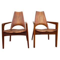 Leon C. Meyer Midcentury Studio Craft Pair of Handmade Chairs Signed Rare
