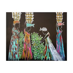 """""""TRe089 BigRD"""" Black and Multicolor Painting of Four Women with Baskets"""