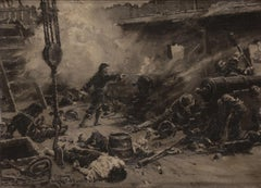 Léon Couturier (1842-1935) A naval battle, Chateaumorand fighting oil on mahogny