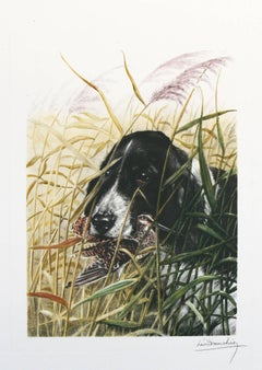 Dog and Snipe Leon Danchin original signed etching