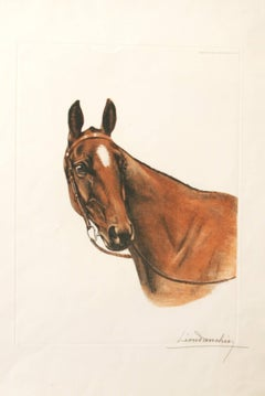 Horse head Leon Danchin original limited  edition etching signed
