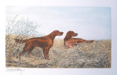 Irish Setters in the Field original etching by Leon Danchin