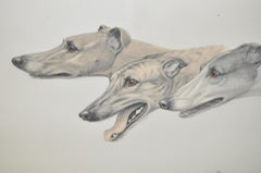 """Leon Danchin """"Greyhounds in Profile"""" Etching with Aquatint c.1920"""