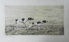 Pair of Pointers by Leon Danchin Etching Engraving