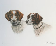 Two Britany Spaniel Heads Leon Danchin etching signed
