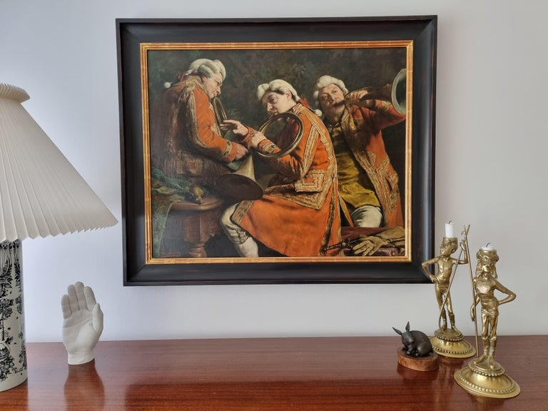 Avant la Chasse (Before Hunting) by Léon de Meuter Brunin, Oil on Panel, Signed For Sale 2