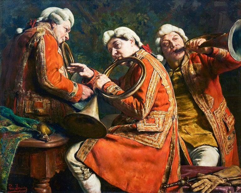 """Léon de Meuter Brunin (1861‑1949, Belgium)  Title: Avant la Chasse (Before Hunting)   signed Léon Brunin Anvers oil on panel panel size 64,5 x 78,5 cm  With comment from the artist (a tergo): """"Je sousigné déclare avoir peint le  Tableau ci-contre"""