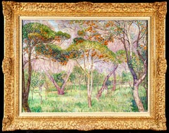 Orange Orchard - Post Impressionist Oil, Trees in Landscape by Leon Detroy