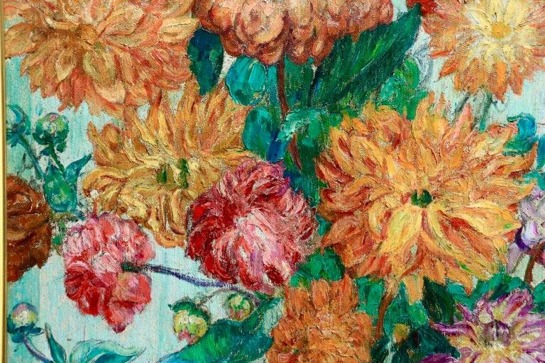 Un grand bouquet de fleurs - Impressionist Oil, Still Life Flowers - Leon Detroy 7