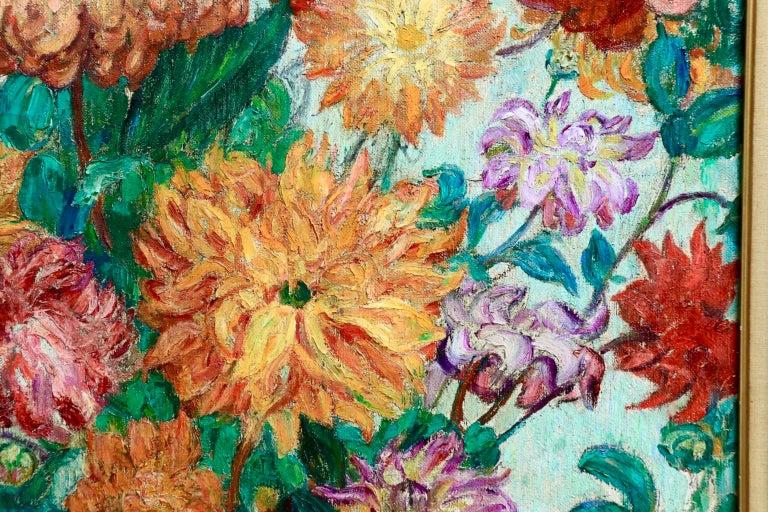 Un grand bouquet de fleurs - Impressionist Oil, Still Life Flowers - Leon Detroy 8