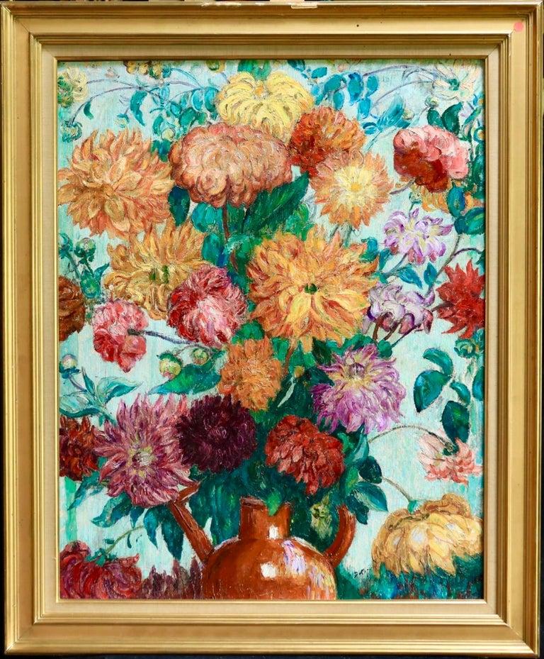 Un grand bouquet de fleurs - Impressionist Oil, Still Life Flowers - Leon Detroy - Beige Still-Life Painting by Leon Detroy