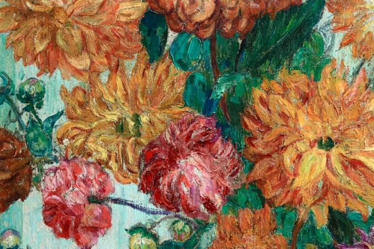 Un grand bouquet de fleurs - Impressionist Oil, Still Life Flowers - Leon Detroy 1