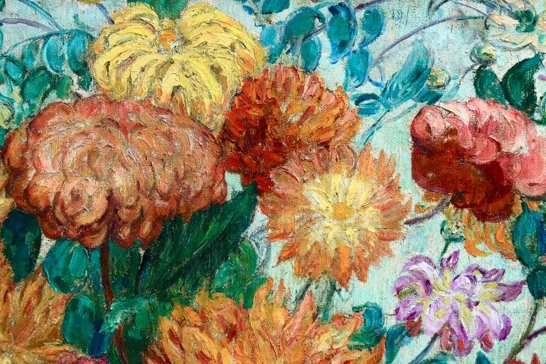 Un grand bouquet de fleurs - Impressionist Oil, Still Life Flowers - Leon Detroy 3