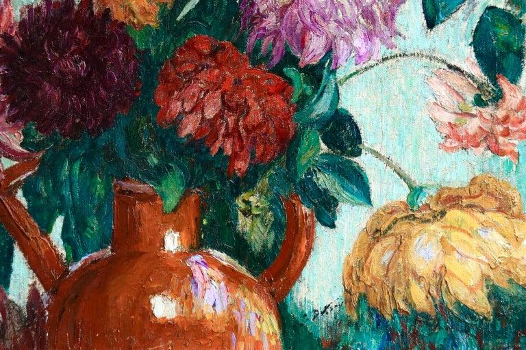 Un grand bouquet de fleurs - Impressionist Oil, Still Life Flowers - Leon Detroy 4