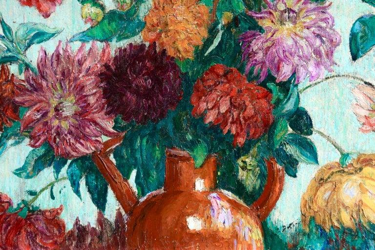 Un grand bouquet de fleurs - Impressionist Oil, Still Life Flowers - Leon Detroy 5