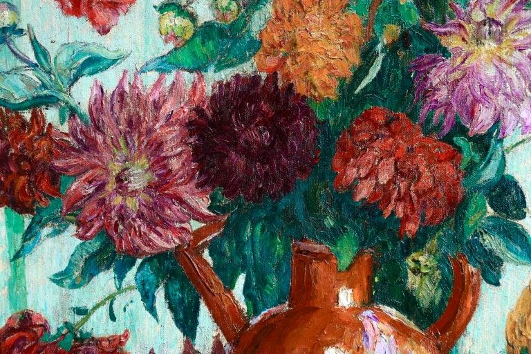 Un grand bouquet de fleurs - Impressionist Oil, Still Life Flowers - Leon Detroy 6