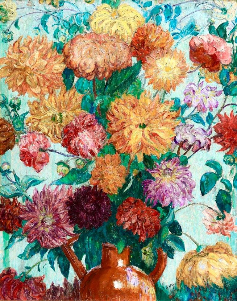 Un grand bouquet de fleurs - Impressionist Oil, Still Life Flowers - Leon Detroy - Painting by Leon Detroy