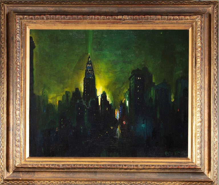 New York Nocturne - Painting by Leon Dolice