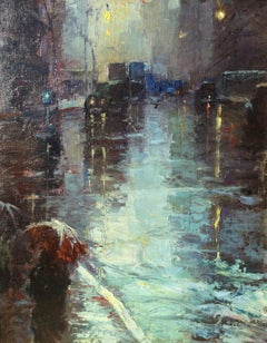 """Rainy Day, New York City"" Modernist Urban Cityscape Mid-Century Street Scene"