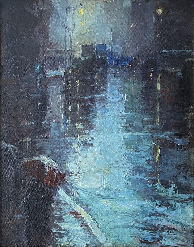 "Leon Dolice Landscape Painting - ""Rainy Day, New York City"" Modernist Urban Cityscape Mid-Century Street Scene"